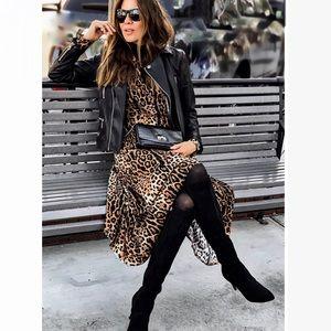 Long leopard asymmetrical maxi dress S